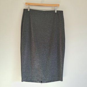 Lane Bryant Gray Shimmer Midi Pencil Skirt SZ 16